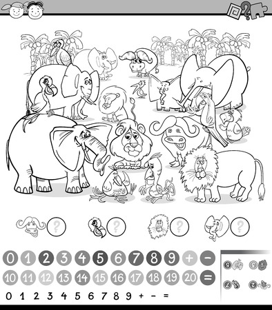 enumerate: Black and White Cartoon Illustration of Education Mathematical Game of Counting Illustration