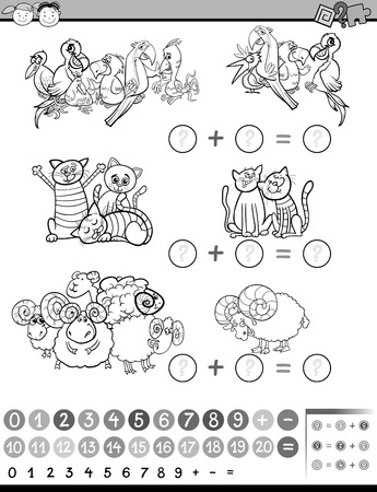 Black and White Cartoon Illustration of Education Mathematical Game of Counting Illustration