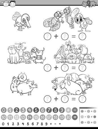 enumerate: Black and White Cartoon Illustration of Education Mathematical Game of Calculating