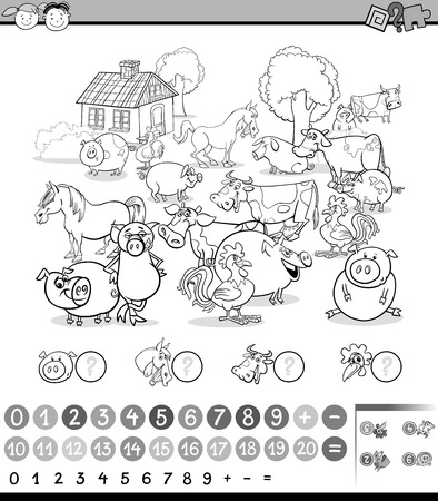 enumerate: Black and White Cartoon Illustration of Education Mathematical Game for Preschool Children