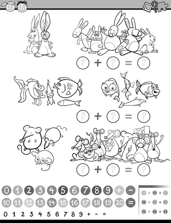 preschool children: Black and White Cartoon Illustration of Education Mathematical Game for Preschool Children with Animals