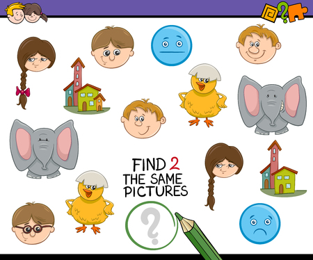accurately: Cartoon Illustration of Find Exactly the Same Pictures Educational Activity for Preschool Children