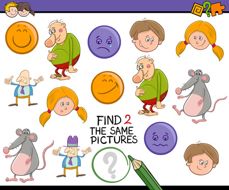 accurately: Cartoon Illustration of Find Exactly the Same Pictures Educational Activity Task for Preschool Children Illustration