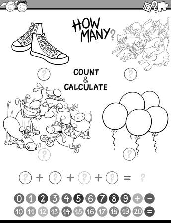 actividad: Ilustración de dibujos animados en blanco y negro de la Educación Matemática Contar y adición de actividades para niños en edad preescolar Coloring Book