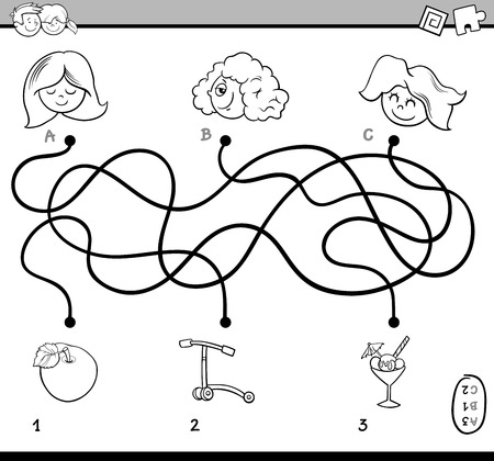 activity cartoon: Black and White Cartoon Illustration of Educational Paths or Maze Puzzle Activity for Preschool Children with Girls Coloring Book