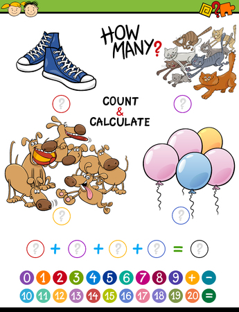 addition: Cartoon Illustration of Educational Mathematical Count and Addition Activity for Preschool Children