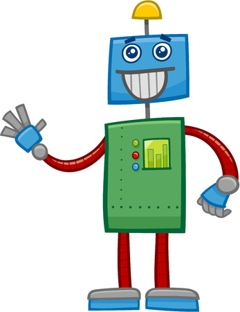 metal drawing: Cartoon Illustration of Funny Robot Fantasy Character