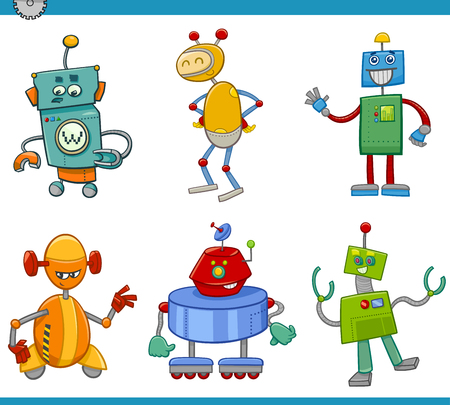 fairytale character: Cartoon Illustration of Robots or Droids Fantasy Characters Set