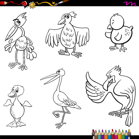 ostrich chick: Coloring Book Cartoon Illustration of Funny Birds Characters Set