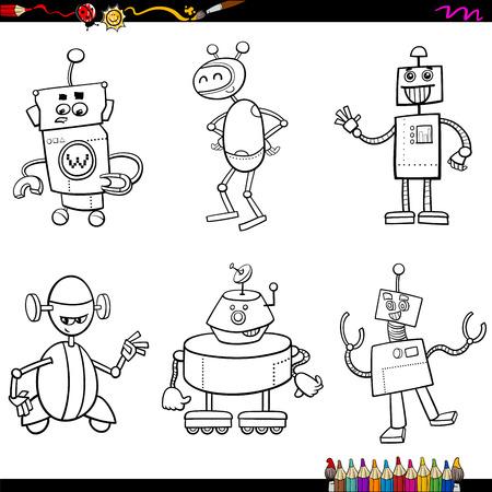 Coloring Book Cartoon Illustration of Fantasy Robot Characters Set Illustration