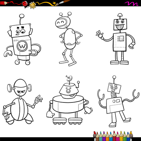 Coloring Book Cartoon Illustration of Fantasy Robot Characters Set Illustration