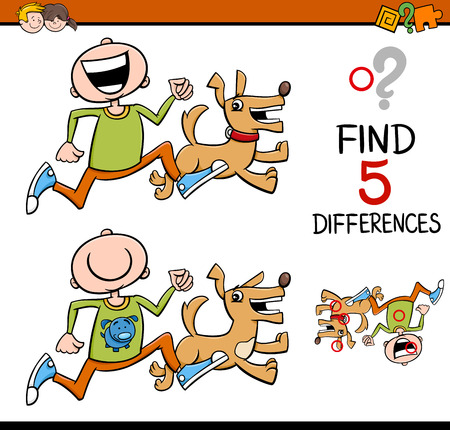 Cartoon Illustration of Finding Differences Educational Activity for Preschool Children with Boy and his Dog Stock Illustratie
