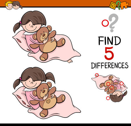 task: Cartoon Illustration of Finding Differences Educational Activity Task for Preschool Children with Girl and Teddy