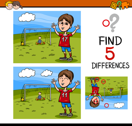 playing soccer: Cartoon Illustration of Finding Differences Educational Activity Task for Preschool Children with Boy Playing Soccer
