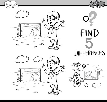 children book: Black and White Cartoon Illustration of Finding Differences Educational Activity Task for Preschool Children with Boy Playing Soccer for Coloring Book