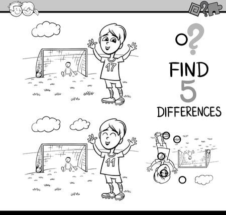 Noir et blanc Cartoon Illustration de trouver des différences Activité tâche éducative pour enfants d'âge préscolaire Boy Playing Soccer pour Coloring Book Banque d'images - 56800199