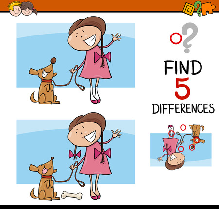 Cartoon Illustration of Finding Differences Educational Activity Task for Preschool Children with Girl and her Dog