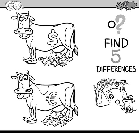 cash cow: Black and White Cartoon Illustration of Finding Differences Educational Activity Task for Preschool Children with Cash Cow Saying for Coloring Book