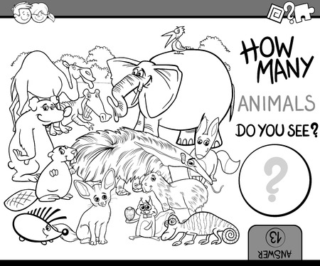 many: Black and White Cartoon Illustration of Educational Counting Math Activity for Preschool Children with Wildlife Animal Characters Coloring Book Illustration