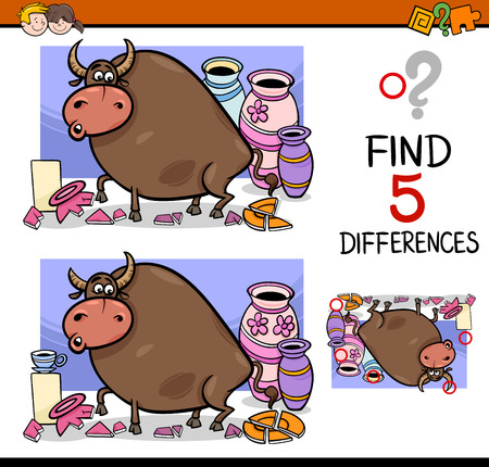 activity cartoon: Cartoon Illustration of Finding Differences Educational Activity Task for Preschool Children with Bull in a China Shop Saying