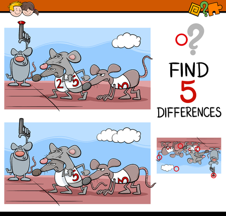 rat race: Cartoon Illustration of Finding Differences Educational Activity Task for Preschool Children with Rat Race Saying