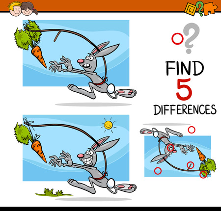 dangling: Cartoon Illustration of Finding Differences Educational Activity Task for Preschool Children with Dangling a Carrot Saying