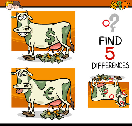 cash cow: Cartoon Illustration of Finding Differences Educational Activity Task for Preschool Children with Cash Cow Saying