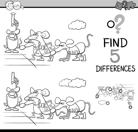 rat race: Black and White Cartoon Illustration of Finding Differences Educational Activity Task for Preschool Children with Rat Race Saying for Coloring Book