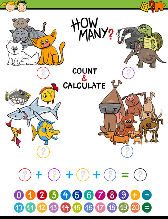 addition: Cartoon Illustration of Educational Mathematical Count and Calculate Activity for Preschool Children
