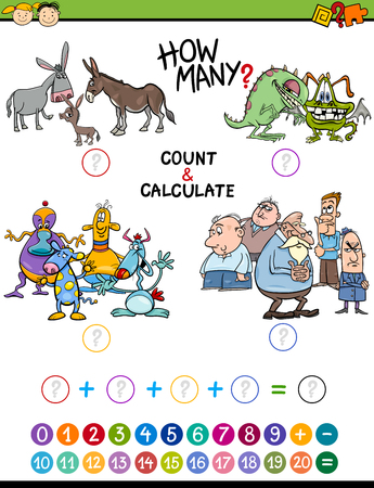 addition: Cartoon Illustration of Educational Mathematical Count and Addition Activity Game for Preschool Children