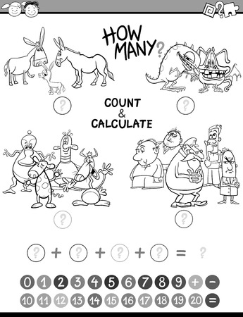 calculate: Black and White Cartoon Illustration of Educational Mathematical Count and Calculate Activity Task for Preschool Children Coloring Book