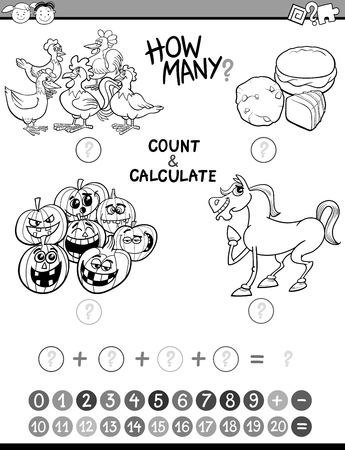 addition: Black and White Cartoon Illustration of Educational Mathematical Count and Addition Activity Task for Preschool Children Coloring Book Illustration