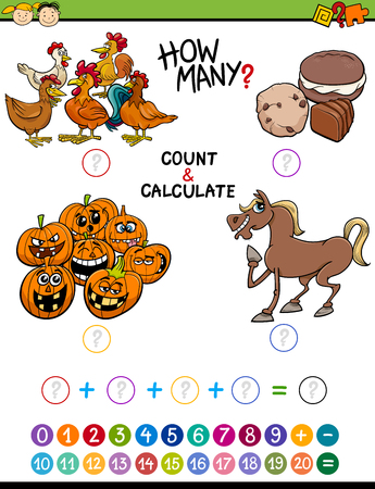 addition: Cartoon Illustration of Educational Mathematical Count and Addition Activity Task for Preschool Children