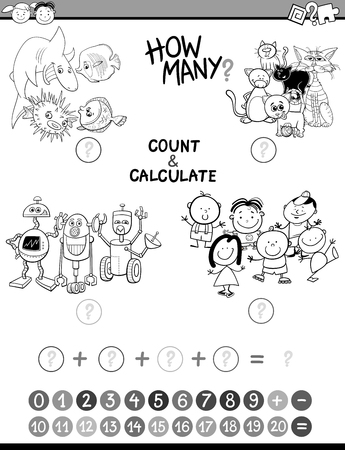 addition: Black and White Cartoon Illustration of Educational Mathematical Count and Addition Activity for Preschool Children Coloring Book