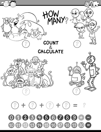addition: Black and White Cartoon Illustration of Educational Mathematical Count and Addition Activity Game for Preschool Children Coloring Book