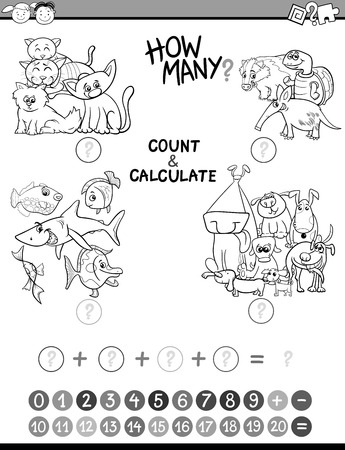calculate: Black and White Cartoon Illustration of Educational Mathematical Count and Calculate Activity Game for Preschool Children Coloring Book Illustration