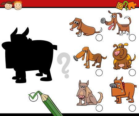 activity cartoon: Cartoon Illustration of Educational Shadow Activity for Preschool Children with Dogs Illustration