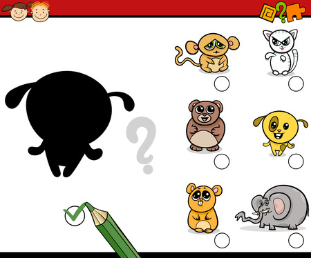task: Cartoon Illustration of Educational Shadow Activity Task for Preschool Kids with Animal Characters