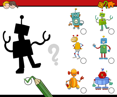 preschool children: Cartoon Illustration of Find the Shadow Educational Activity Task for Preschool Children with Robots