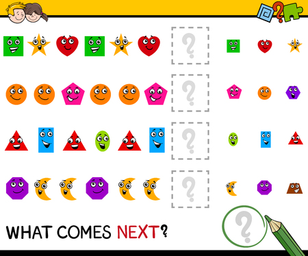 next: Cartoon Illustration of Completing the Pattern Educational Activity Task for Preschool Children with Geometric Shapes
