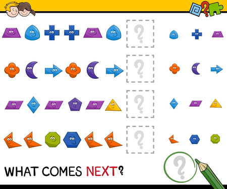 activity cartoon: Cartoon Illustration of Completing the Pattern Educational Activity Task for Preschool Children with Geometric Shapes