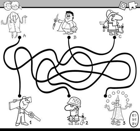 Black and White Cartoon Illustration of Educational Paths or Maze Puzzle Activity Task for Preschool Children with Professionals People Coloring Book