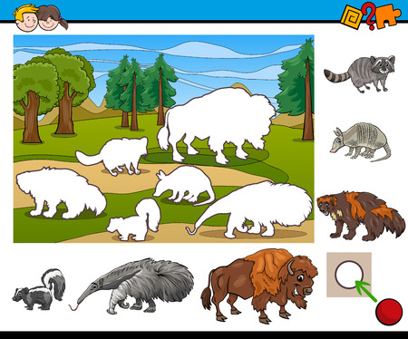 wild animal: Cartoon Illustration of Educational Activity Task for Preschool Children with Wild Animal Characters