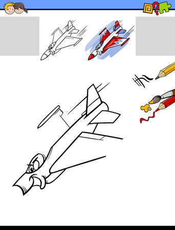jet plane: Cartoon Illustration of Drawing and Coloring Educational Activity Task for Preschool Children with Jet Plane Character Illustration