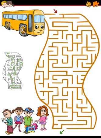 niño preescolar: Dibujos animados Ilustración de laberinto de la educación o Laberinto Actividad de tareas para niños en edad preescolar con bus y niños de la escuela Vectores