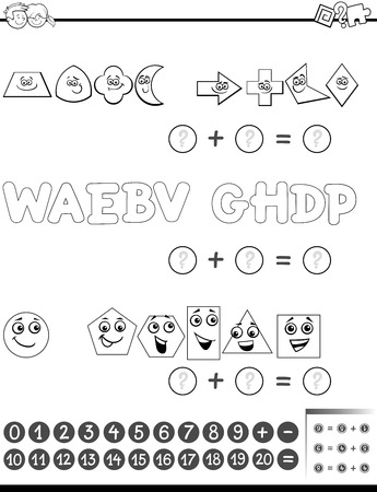 addition: Black and White Cartoon Illustration of Educational Mathematical Addition Activity Task for Preschool Children with Shapes and Letters for Coloring Book Illustration
