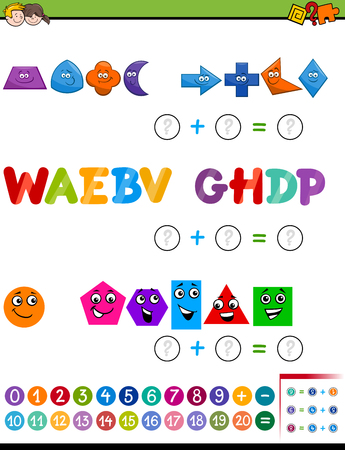 addition: Cartoon Illustration of Educational Mathematical Addition Activity Task for Preschool Children with Shapes and Letters