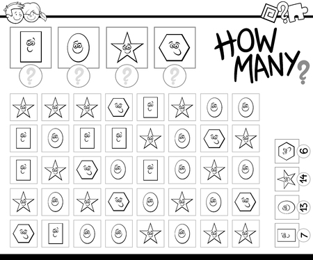 enumerate: Black and White Cartoon Illustration of Educational Counting Activity Task for Preschool Children Coloring Book
