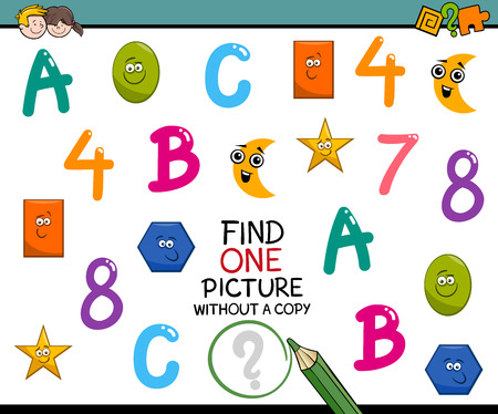 preschool children: Cartoon Illustration of Educational Activity of Single Picture Search for Preschool Children Illustration