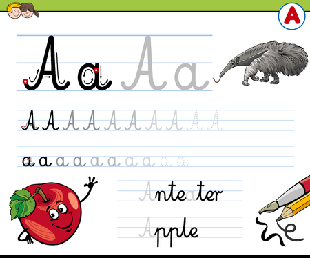 literate: Cartoon Illustration of Writing Skills Practise with Letter A Worksheet for Children Illustration